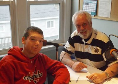NSCC broadcast student Robbie Riley with Councillor David Hendsbee at 105-9 Seaside FM - December 2013