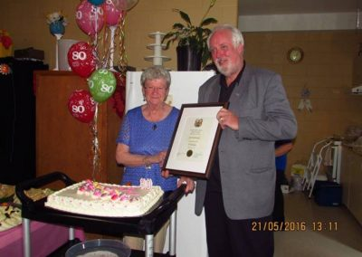 On hand celebrating Jane MacDonald fortieth birthday for the second time Happy 80th - Great time with family and friends at the Lake Echo Community Centre - May 2016